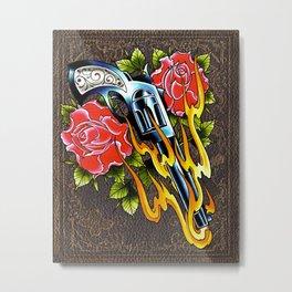 trad pistol w roses Metal Print