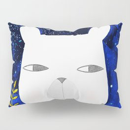 polar bear with botanical illustration in blue Pillow Sham