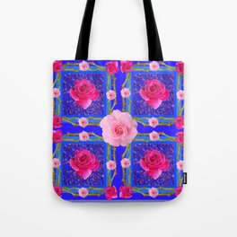 BLUE  GEOMETRIC ART CERISE & PINK FUCHSIA ROSES Tote Bag