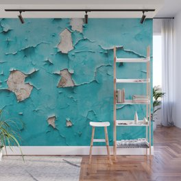 Old vintage blue cracked peeling off wall texture - abstract background illustration Wall Mural
