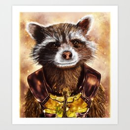 Rocket Raccoon and baby Groot from Guardians of the Galaxy Art Print