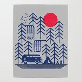 Camping Days / Van nature minimal birds sun Poster