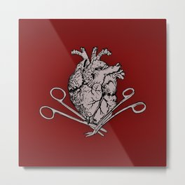 Suture Heart (red version) Metal Print