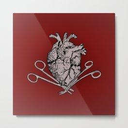 Suture Heart (red version) Metal Print