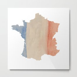 France Outlne with Tri-color Flag in Watercolors Metal Print