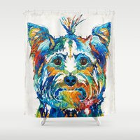 yorkie Shower Curtains featuring Colorful Yorkie Dog Art - Yorkshire Terrier - By Sharon Cummings by Sharon Cummings