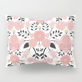 Pink, White, Black, Blue & Yellow Elegant Floral Pattern Pillow Sham