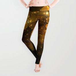 Shiny Gold Hexagon Geometric Patterns Leggings