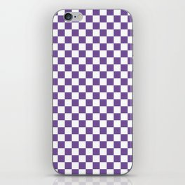 Small Checkered - White and Dark Lavender Violet iPhone Skin
