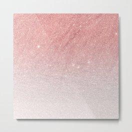 Elegant blush pink faux glitter ombre gradient pattern Metal Print