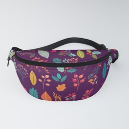 Autumn orange purple pink berries holly floral Fanny Pack
