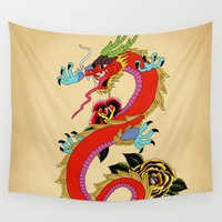 dragon ball Wall Tapestries featuring dragon  by mark ashkenazi