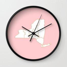 Pink New York map Wall Clock