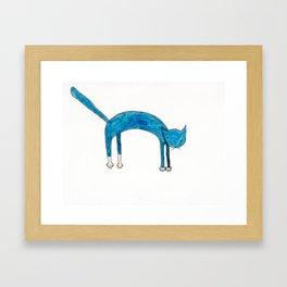 Leaping Coloured Cat Framed Art Print