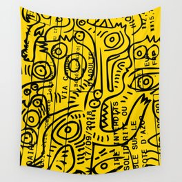 Yellow Street Art Graffiti Train Ticket Wall Tapestry