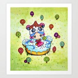 Panda Donut Girl Art Print
