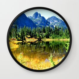 Mount Herman with Picture Lake Wall Clock