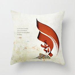 Arabic Calligraphy - Rumi - Lovers Throw Pillow