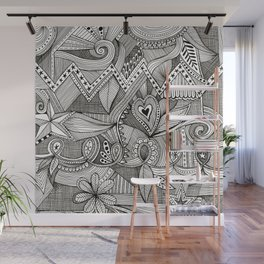 black and white fine line doodle Wall Mural
