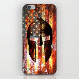 American Flag And Spartan Helmet On Rusted Metal Door - Molon Labe iPhone Skin