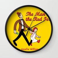 fez Wall Clocks featuring The Man In The Red Fez by Devil Chimp