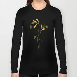 orange freesia watercolor Long Sleeve T-shirt