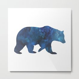 Watercolour Bear Blue Metal Print