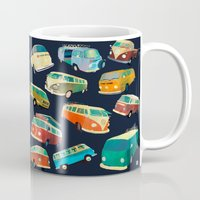 volkswagon Mugs featuring Kombi Heaven by Buster Fidez