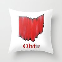ohio state Throw Pillows featuring Ohio State Love by Fischer Fine Arts