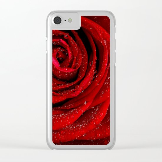 Red rose with sparkling droplets- Beautiful elegant and luxury backround Clear iPhone Case