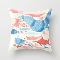 under the sea Throw Pillows featuring Under the sea by Matt Saunders