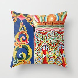 Tibetan Buddhist Monastery Architectural Details Throw Pillow