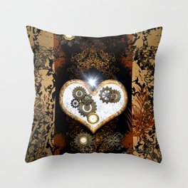 Steampunk, beautiful heart Throw Pillow