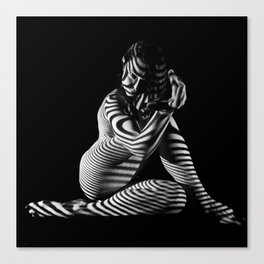 0526s-MM B&W Seated Woman Zebra Striped Abstract Nude Photograph Canvas Print