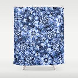 Botanical Indigo Shibori Shower Curtain
