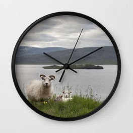 Icelandic sheeps #1 Wall Clock