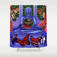 nirvana Shower Curtains featuring Reaching Nirvana Gautama Buddha by Joseph Mosley