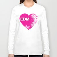 edm Long Sleeve T-shirts featuring EDM Heart by DropBass