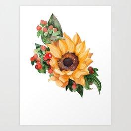 Sunflower Berries Art Print