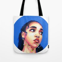 fka twigs Tote Bags featuring Fka Twigs by Passion for Pencils