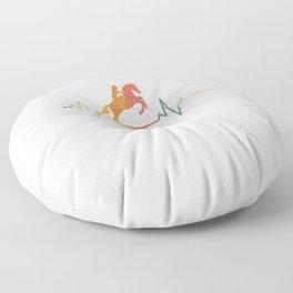 Vintage Heartbeat Horse Ridding Gift Idea Floor Pillow