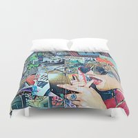 lipstick Duvet Covers featuring Lipstick Outlaw by Katy Hirschfeld