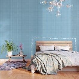 Light cornflower blue - heavenly color - White Lines Grid Pattern Wallpaper