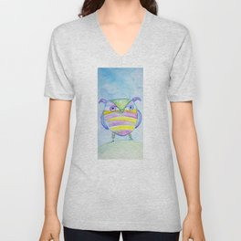 Striped Owl Cute Watercolor Painting by Garden Of Delights Unisex V-Neck