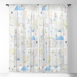 watercolor Santoroni pattern Sheer Curtain