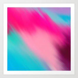 Artistic abstract pink aqua teal watercolor brushstrokes Art Print