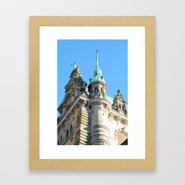 Low angle view of Town Hall in Hamburg Framed Art Print