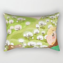 Girl And Cute Bear Rectangular Pillow