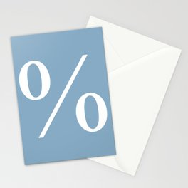 percent sign on placid blue color background Stationery Cards