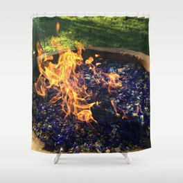 Fire on Blue Shower Curtain